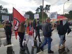 Stoczniowy protest na rondzie w Łunowie